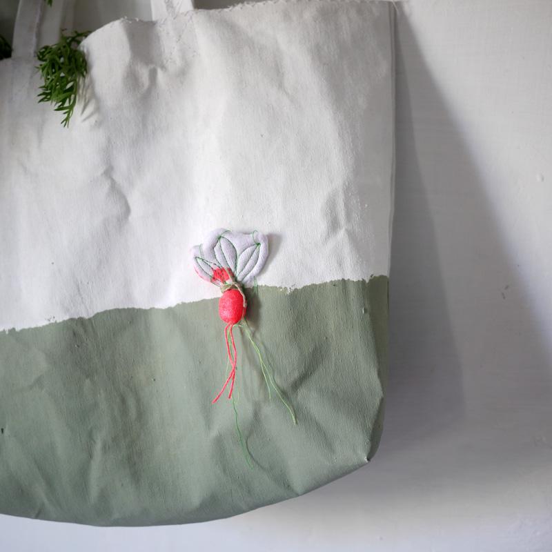 Bracelets LOOM - Design textile by Myriam Balaÿ myriam-balay-radis-vert terre d'argile verte pour small radish bag L'appartement