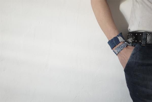 Bracelets LOOM - Design textile by Myriam Balaÿ myriam-balay-bracelet denim addict L'appartement