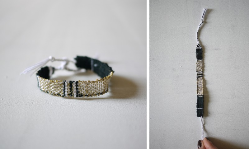 Bracelets LOOM - Design textile by Myriam Balaÿ myriam-balay-bracelet-19-e1425898402611 bracelet LOOM N°19 L'appartement  tissage or noir bracelet blanc