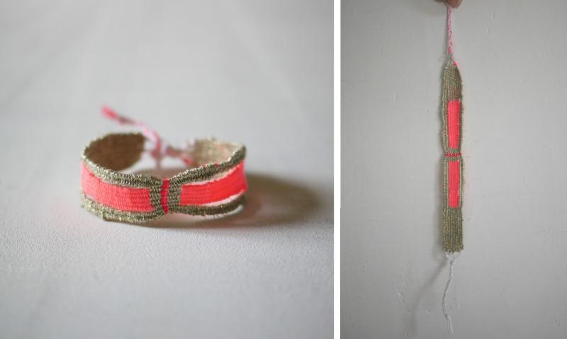 Bracelets LOOM - Design textile by Myriam Balaÿ myriam-balay-bracelet-201-e1425897912419 bracelet LOOM N°20 L'appartement  weaving rose or lurx fluo coton bracelet