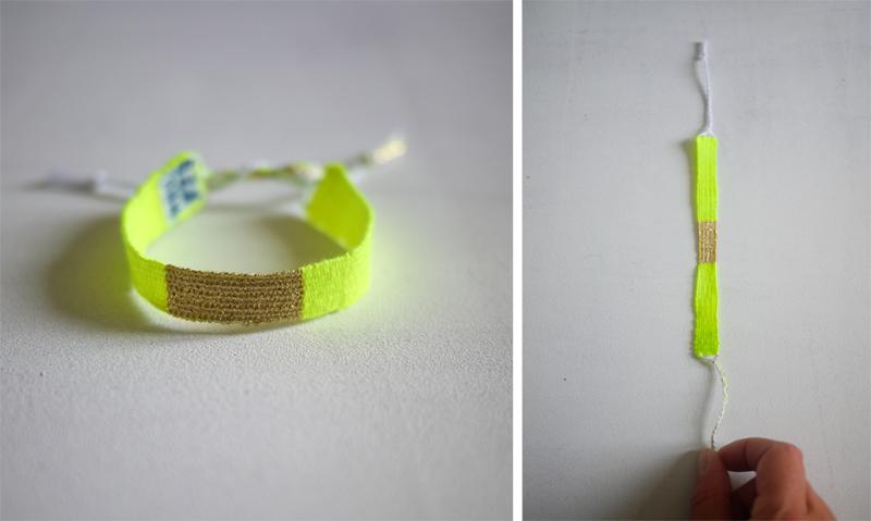 Bracelets LOOM - Design textile by Myriam Balaÿ myriam-balay-bracelet-loom bracelet LOOM N°29 L'appartement  neon mbd lurex loom gold fluo coton bracelet