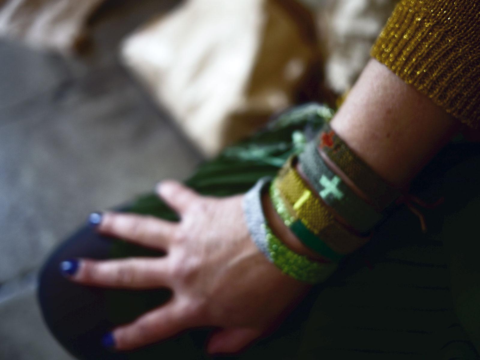 Bracelets LOOM - Design textile by Myriam Balaÿ myriam-balay-bracelet-green GOLD/GREY/GREEN L'appartement