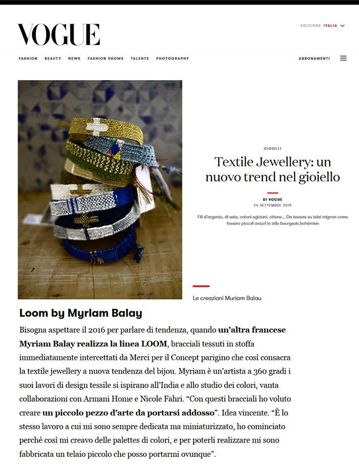 Bracelets LOOM - Design textile by Myriam Balaÿ 70917688_10216594135422144_7509621901828816896_n Les Bracelets LOOM sur Vogue Italia L'appartement